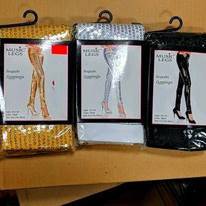 3 pairs of Music Legs sequin leggings
